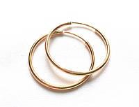Серьги кольца ХР, диаметр 3,5 см, позолота