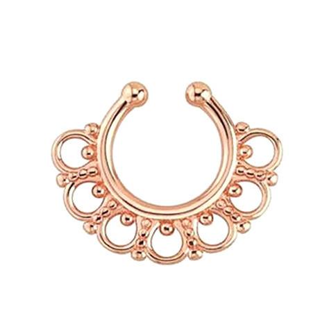 Серьга-обманка в нос Aztec Розовое Золото