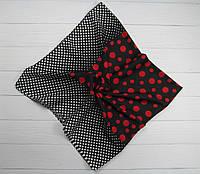 Хлопковый платок горох черный+красный