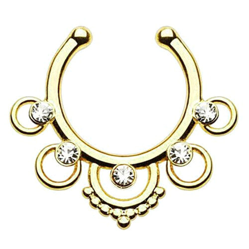 Сережка-обманка в ніс Ethnic Золото