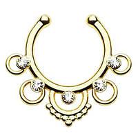 Серьга-обманка в нос Ethnic Золото