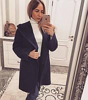 Пальто с капюшоном темно-синее 11863