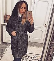 Пальто с капюшоном темно-серое 11864