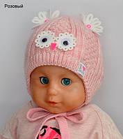 Зимняя шапка Малыш для новорожденных  35-38 см розовый