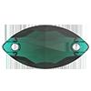 Лодочки пришивные хрустальные Preciosa (Чехия)  12х6 мм, Emerald
