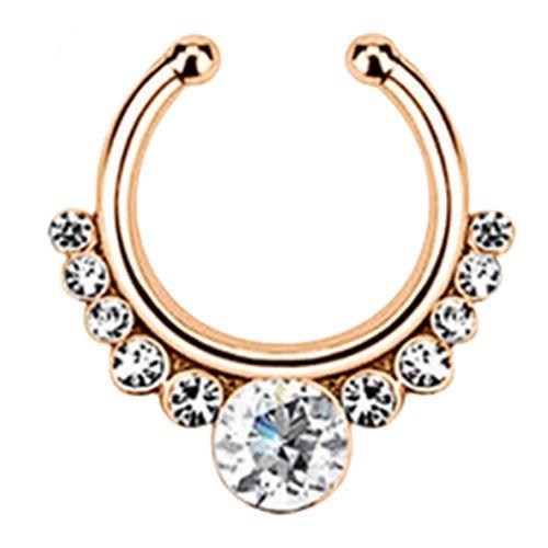 Серьга-обманка в нос White Stone розовое золото
