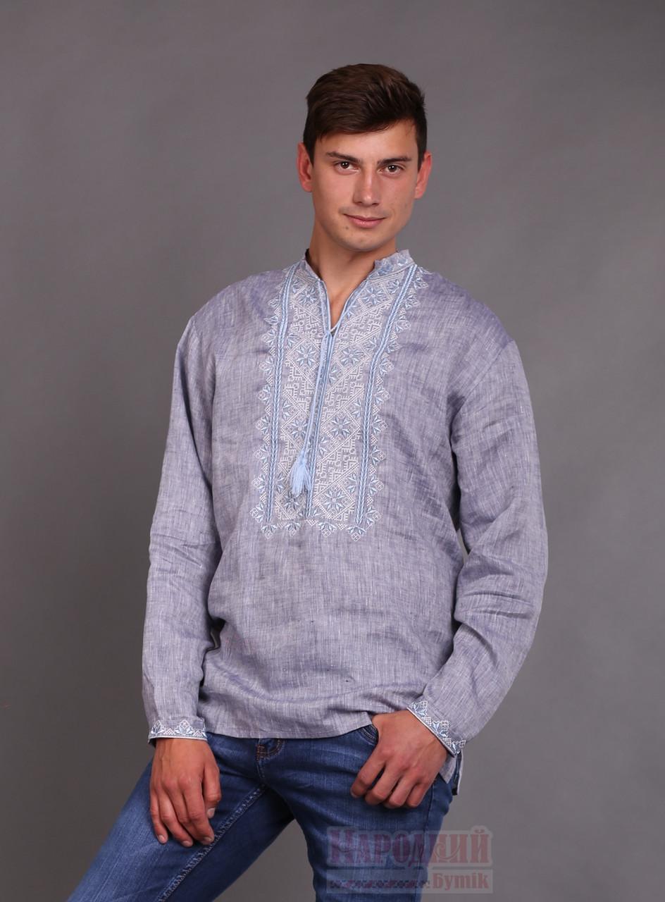 5400a2233e6d Вышиванка для мужчин с голубой вышивкой - Народный бутик - интернет магазин  вышиванок. Вышитые платья