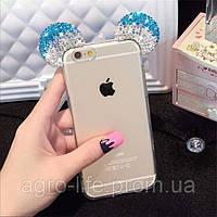 Чехол силиконовый 3D Mickey Mouse Case Blue для iPhone 6/6S