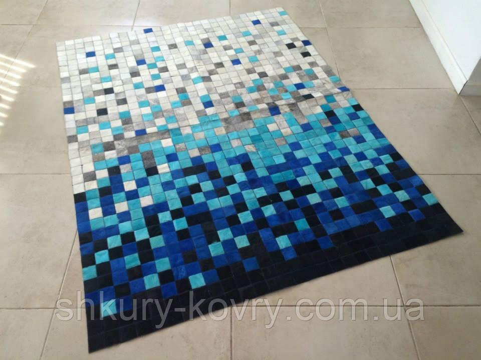 Гарний сучасний килим сірий з блакитним кольором