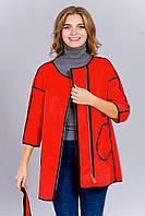 Стильное красное женское полупальто увеличенных размеров