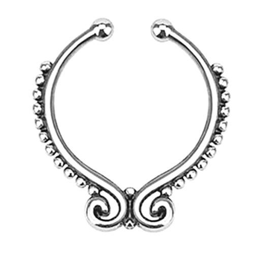 Серьга-обманка в нос Folk Серебро