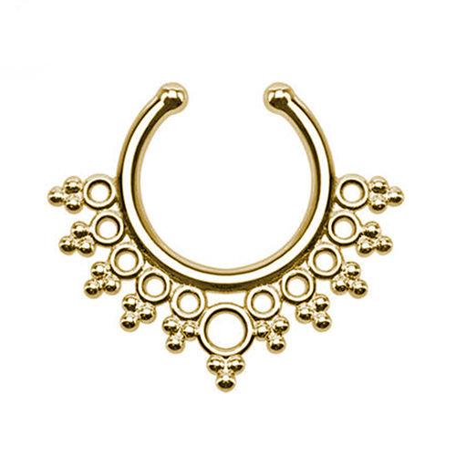Серьга-обманка в нос Tribal Желтое Золото
