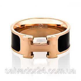 Женское кольцо Hermes (реплика) 18К позолота, ювелирная эмаль, 15,5 размер