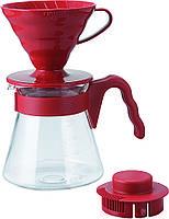 Набор: пуровер для заваривания кофе Hario V60 02 пластик Red + Сервировочный чайник из термостойкого стекла