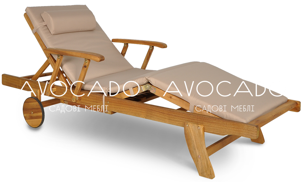 Шезлонг дерев'яний  HAVANA 200 см з матрасом ,колір латте