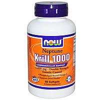 Масло криля Нептун (NKO), Now Foods, 1000 мг, 60 капсул