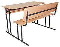 Парта ученическая двухместная (стол+скамья со спинкой+полка) 120х50 см.