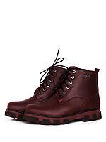 Ботинки женские зимние бордовые