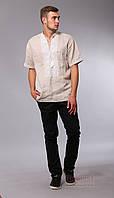 Мужская вышитая сорочка с коротким рукавом, бежевый лен, фото 1