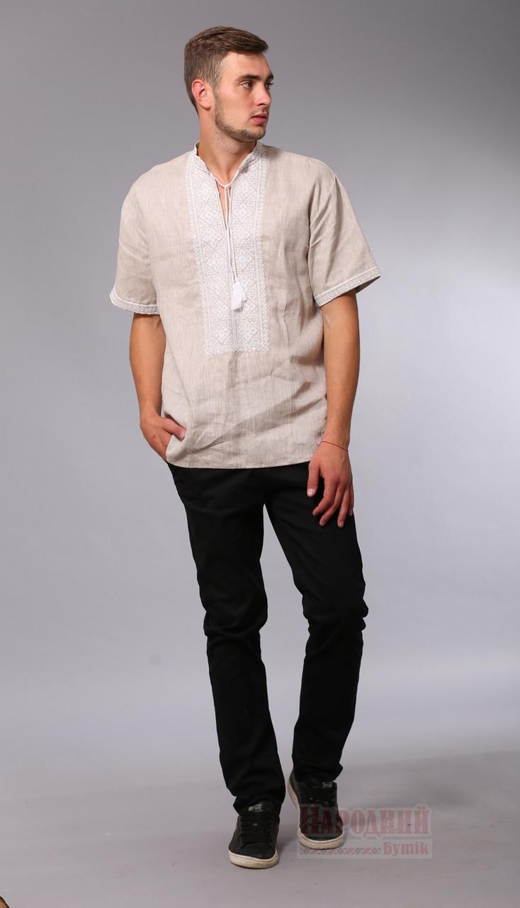 969be70a13ba Мужская вышитая сорочка с коротким рукавом, бежевый лен, купить - Народный  бутик