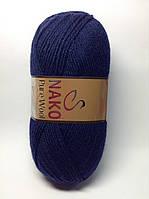 Пряжа nako pure wool - цвет темно-синий