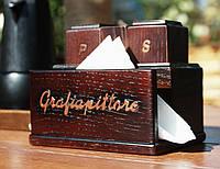 Серветниця з дерева.Набор для специй.Диспенсер деревянный.Подставка для специй.Спецовник. Набір дерев'яний.