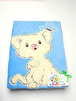 Детский флисовый плед с  аппликацией (голубой с котиком)