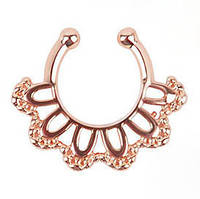 Серьга-обманка в нос Веер розовое золото
