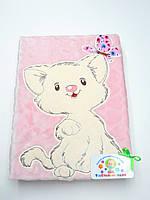 Детский флисовый плед с  аппликацией (розовый с котиком)