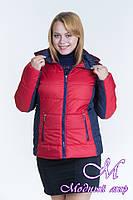 Женская красная весенняя куртка батал (р. 44-64) арт. Куртка № 15