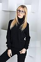 Женский вязаный костюм брюки и свитер с узором-косичками