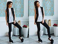 Стильный женский костюм, брюки+жилет, цвет черный