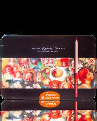 """Акварельні олівці кольорові """"MARCO"""" Renoir в металевому пеналі (48 кольорів) FineART-48TN"""