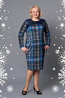 Платье новинка  в клетку Беатрис  больших размеров нарядное в размерах 52, 54, 56, 58, 60 синее оптом