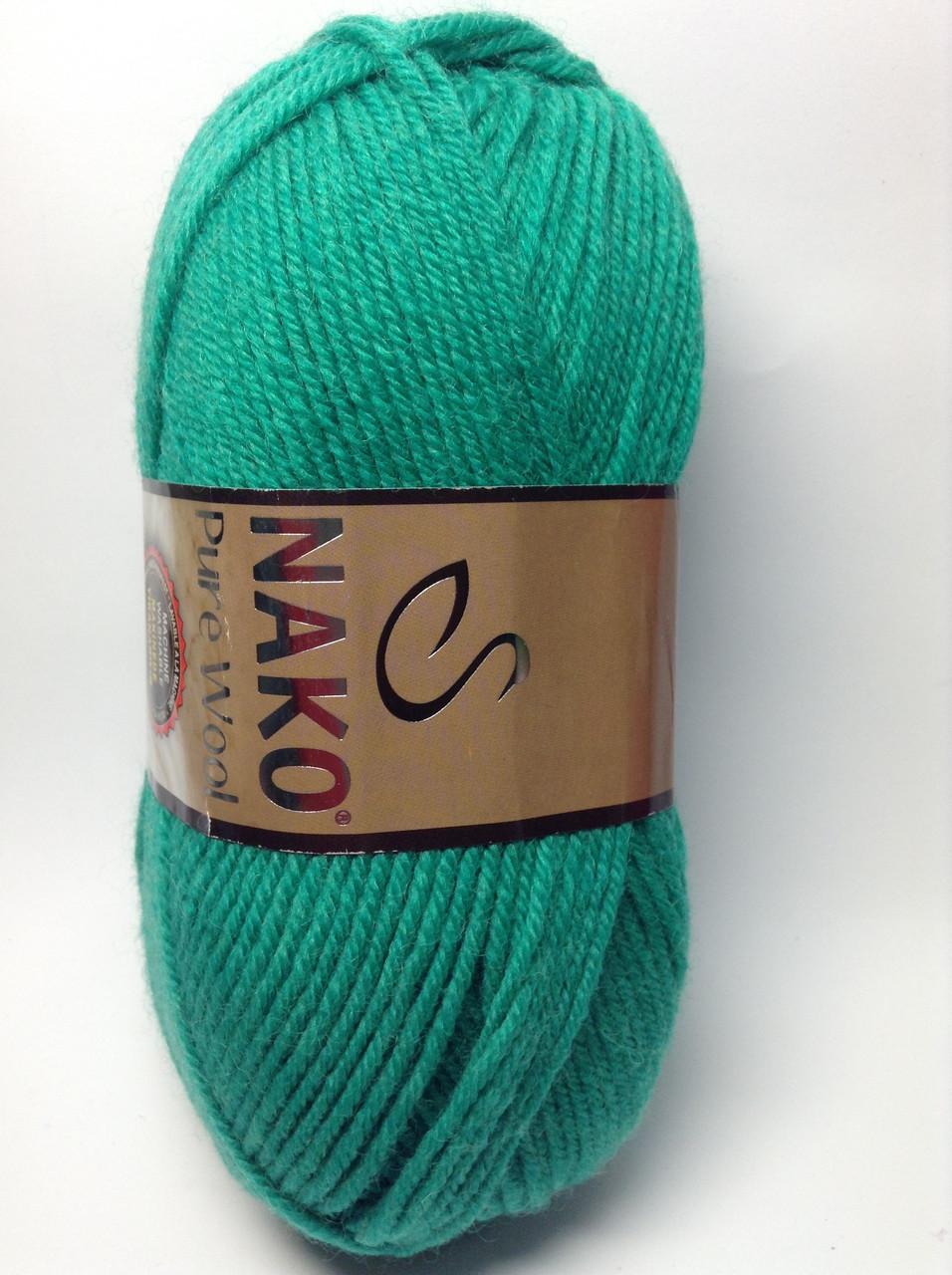 Пряжа nako pure wool - цвет изумрудный