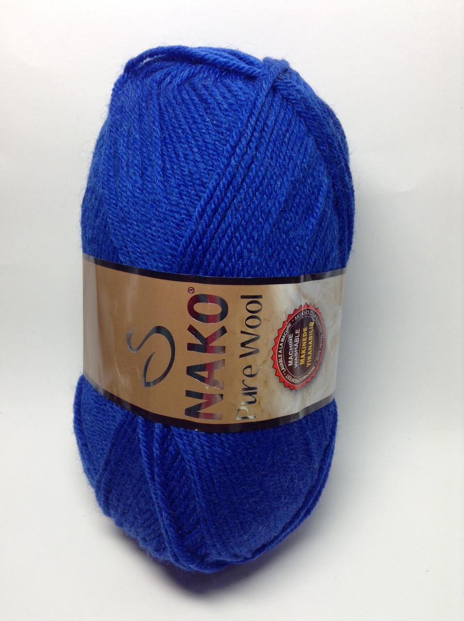 Пряжа nako pure wool - цвет васильковый