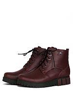 Бордовые ботинки без каблука