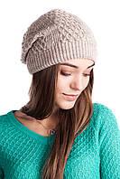 Женская молодежная шапка двойная цвета лен