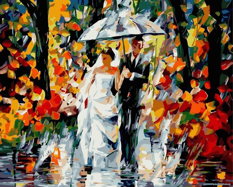 Раскраска по цифрам 40×50 см. Свадьба под дождем Художник Леонид Афремов