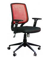 Кресло Онлайн Алюм сиденье Сетка черная/спинка Сетка бордовая/красная.