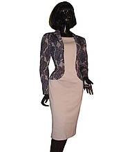 Платье бежевое с имитацией жакета с цветочным принтом Арт.2001 р.50