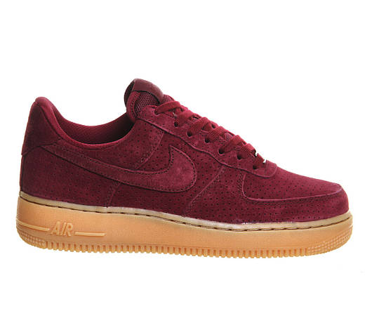 Женские кроссовки Nike Air Force 1 Suede Red Maroon Gum