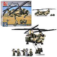 Конструктор SLUBAN M38-B0508 (8шт) армия,вертолет военный,машина,фигурки, в кор-ке,42,5-38-8см