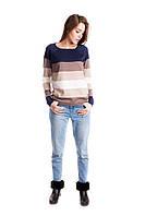 Женский молодежный джемпер в широкую полоску цвет темно-синий