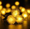 Гирлянда на солнечной батарее Праздничные огни желтые 7м 50LED