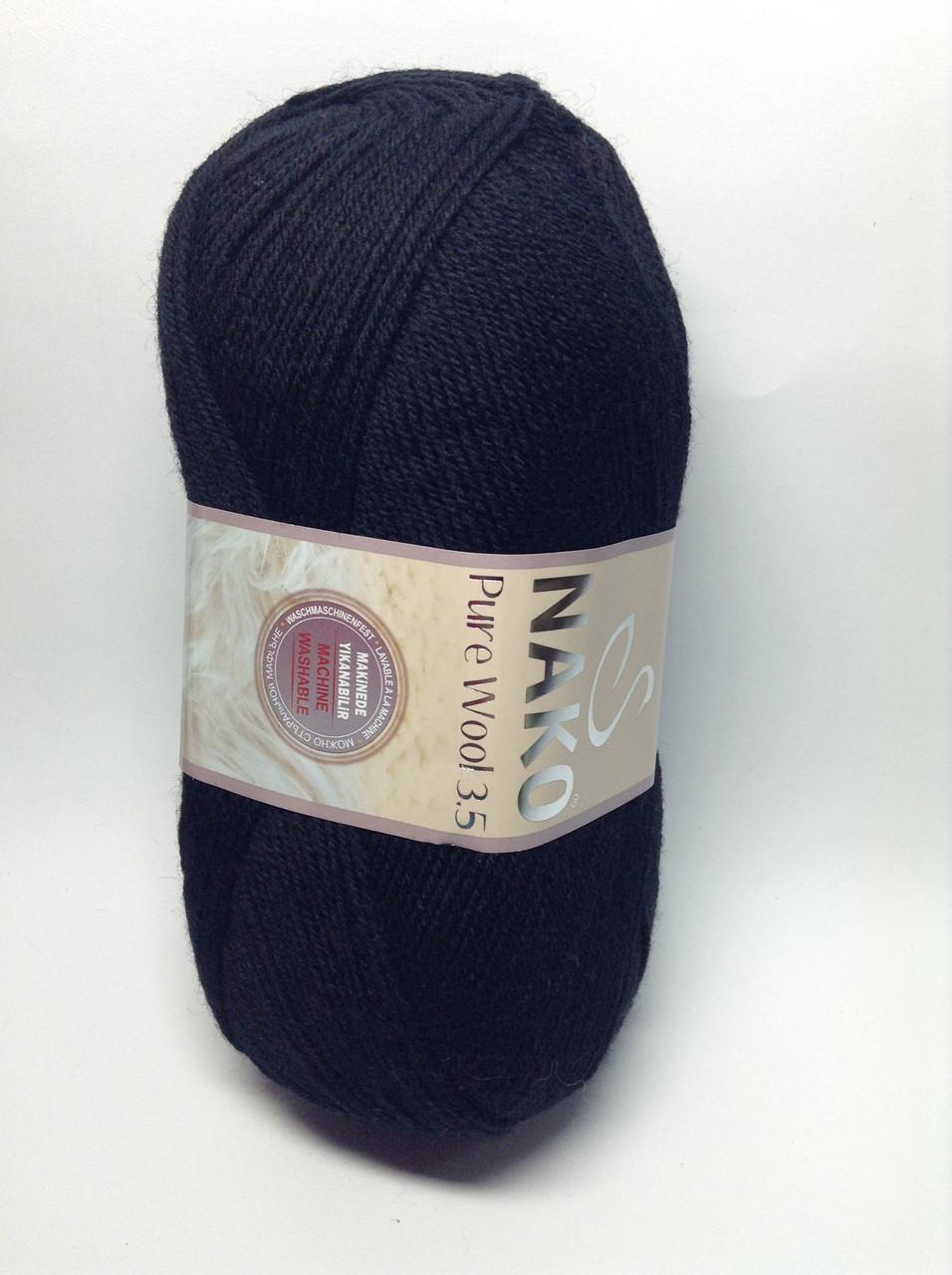 Пряжа nako pure wool 3.5 - цвет черный