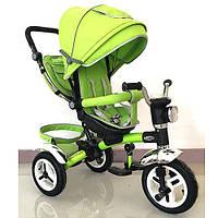 Детский трехколесный велосипед с ручкой Turbo Trike M 3199-4НА (Зеленый)