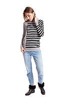 Женский молодежный джемпер с полосками цвет серая дымка+черный