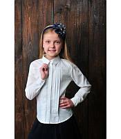 Школьная блуза для девочки белого цвета 2170