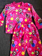Теплые детские махровые пижамы для девочек  на 1-2 года